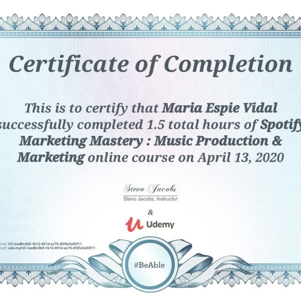 Udemy Spotify Marketing Certification