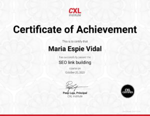 CXL Certification for SEO link building